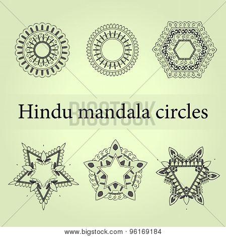 Mandala circles set. Mystic mandala