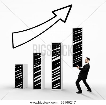 Businessman Holding Drawing Graph