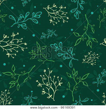 Vector Dark Green Spring Braches Drawing Seamless Pattern