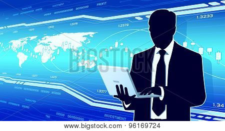 Business analyst hold computer