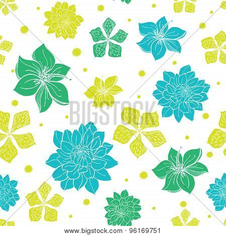 Vector Vibrant Blue Green Exotic Flowers Seamless Pattern
