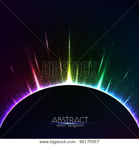 Rainbow shining light colorful cosmic sphere