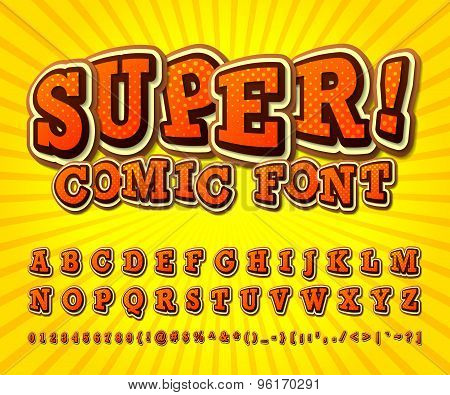 Comic Font. Alphabet In Style Of Comics, Pop Art.