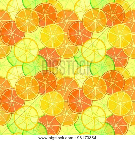 Orange and lime slices seamless pattern