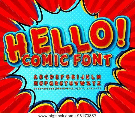 Creative High Detail Comic Red Font, Explosion. Alphabet