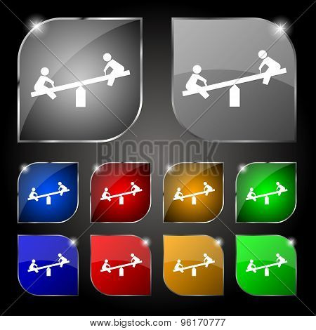 Swing Icon Sign. Set Of Ten Colorful Buttons With Glare. Vector