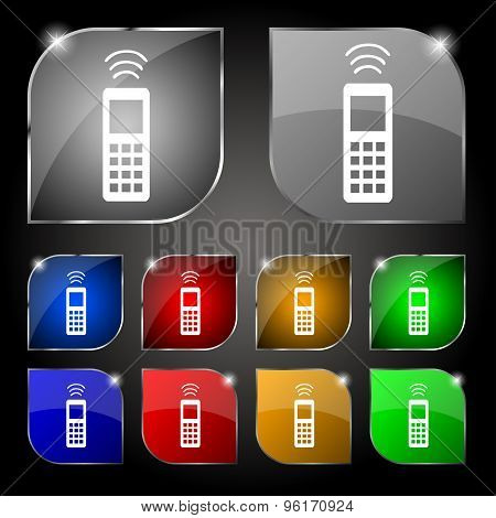 The Remote Control Icon Sign. Set Of Ten Colorful Buttons With Glare. Vector
