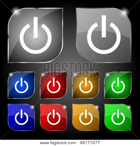 Power Icon Sign. Set Of Ten Colorful Buttons With Glare. Vector