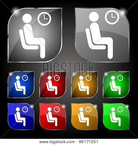 Waiting Icon Sign. Set Of Ten Colorful Buttons With Glare. Vector