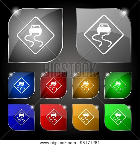 Road Slippery Icon Sign. Set Of Ten Colorful Buttons With Glare. Vector