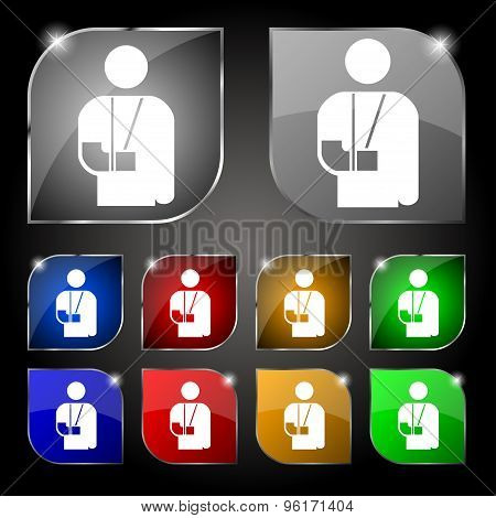 Broken Arm, Disability Icon Sign. Set Of Ten Colorful Buttons With Glare. Vector