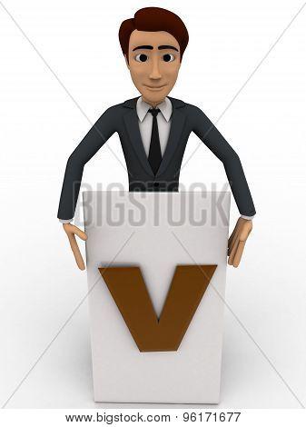 3D Man Write V On Paper Concept