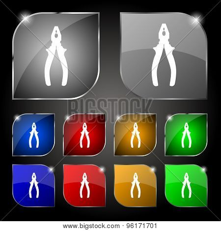 Pliers Icon Sign. Set Of Ten Colorful Buttons With Glare. Vector