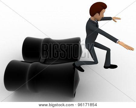 3D Man Jumping From Big Binocular Concept