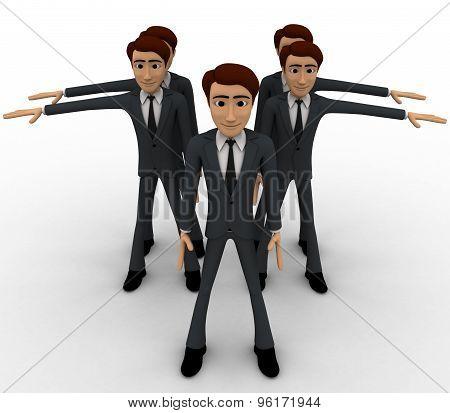 3D Men N Line Doing Exercise Concept