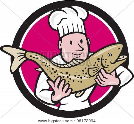 Chef Cook Holding Trout Fish Circle Cartoon