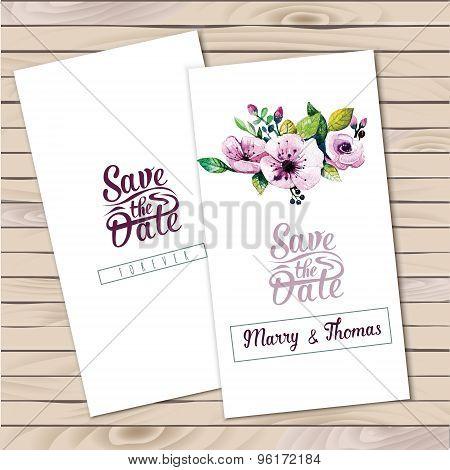 Vector  invitation card with watercolor elements. Wedding collec