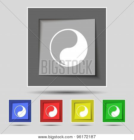 Yin Yang Icon Sign On Original Five Colored Buttons. Vector