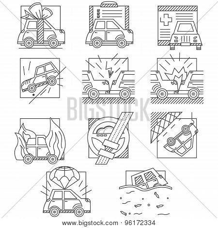 Car insurance flat line vector icons