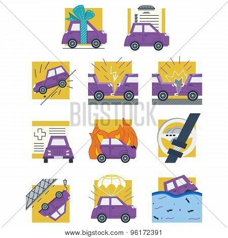 Auto insurance colored flat vector icons