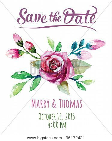 Vector  invitation card with watercolor floral elements. Wedding
