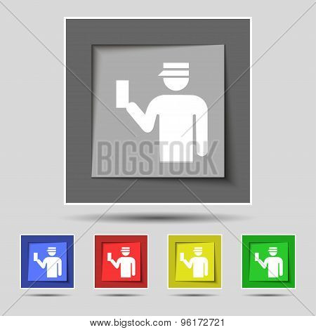 Inspector Icon Sign On Original Five Colored Buttons. Vector