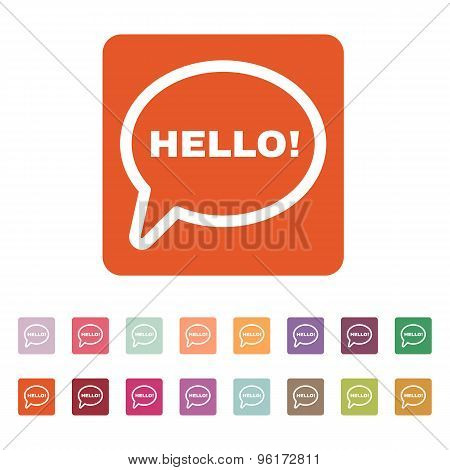 The hello icon. Greet and hi symbol. Flat