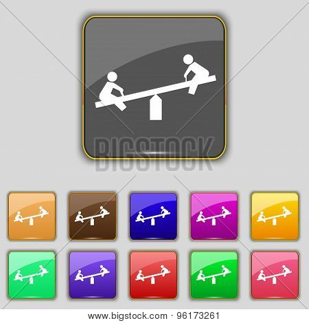 Swing Icon Sign. Set With Eleven Colored Buttons For Your Site. Vector