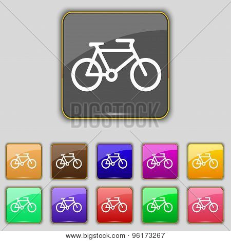 Bike Icon Sign. Set With Eleven Colored Buttons For Your Site. Vector