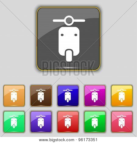 Motorcycle Icon Sign. Set With Eleven Colored Buttons For Your Site. Vector