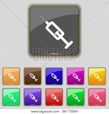 Syringe Icon Sign. Set With Eleven Colored Buttons For Your Site. Vector