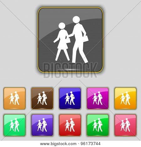 Crosswalk Icon Sign. Set With Eleven Colored Buttons For Your Site. Vector