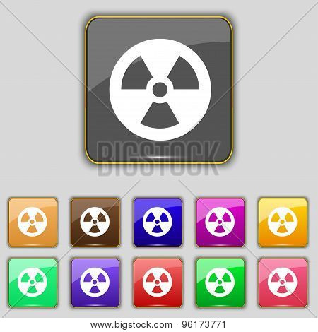 Radiation Icon Sign. Set With Eleven Colored Buttons For Your Site. Vector