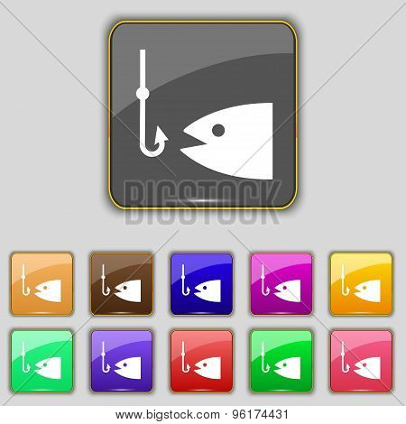 Fishing Icon Sign. Set With Eleven Colored Buttons For Your Site. Vector