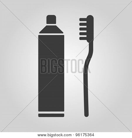 The toothpaste and toothbrush icon. Bathroom, dental, dentist symbol. Flat