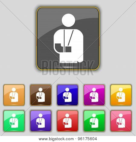 Broken Arm, Disability Icon Sign. Set With Eleven Colored Buttons For Your Site. Vector