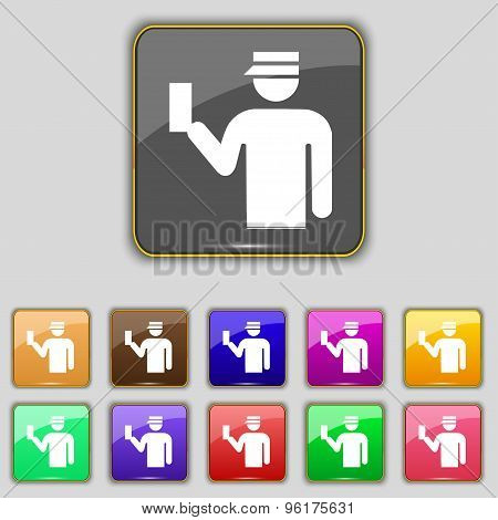 Inspector Icon Sign. Set With Eleven Colored Buttons For Your Site. Vector