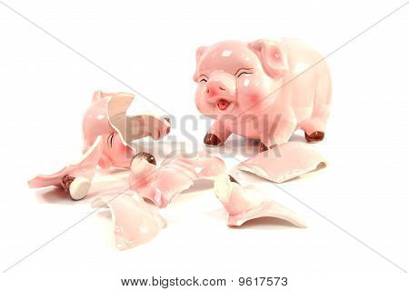 Whole And Broken Piggy Bank