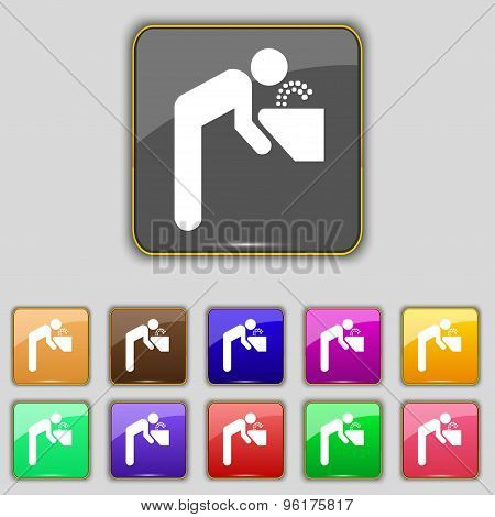 Drinking Fountain Icon Sign. Set With Eleven Colored Buttons For Your Site. Vector