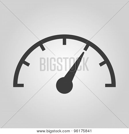 The tachometer, speedometer and indicator icon. Performance measurement symbol. Flat