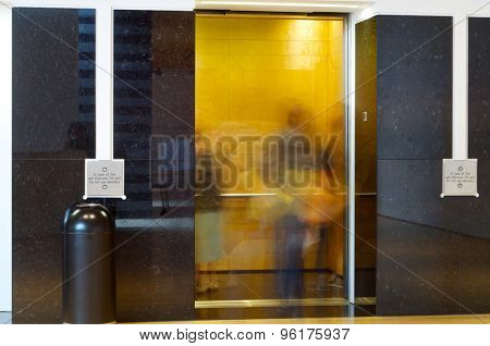 Elevator in the interior of a building.