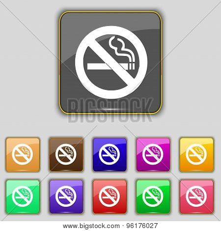 No Smoking Icon Sign. Set With Eleven Colored Buttons For Your Site. Vector
