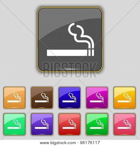 Cigarette Smoke Icon Sign. Set With Eleven Colored Buttons For Your Site. Vector