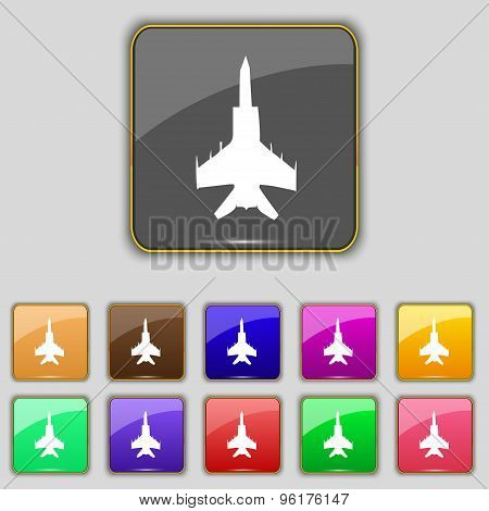 Fighter Icon Sign. Set With Eleven Colored Buttons For Your Site. Vector