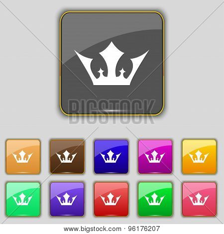Crown Icon Sign. Set With Eleven Colored Buttons For Your Site. Vector