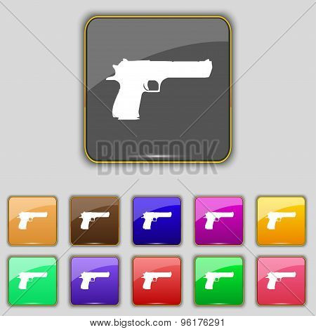 Gun Icon Sign. Set With Eleven Colored Buttons For Your Site. Vector