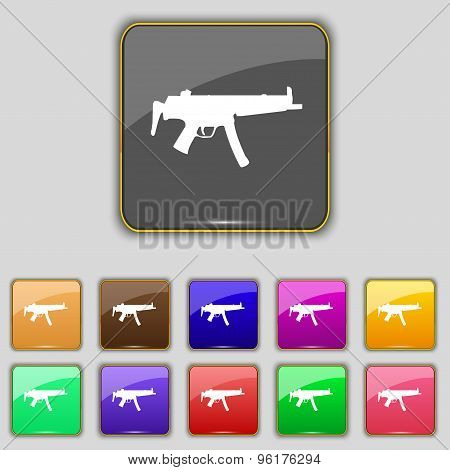 Machine Gun Icon Sign. Set With Eleven Colored Buttons For Your Site. Vector