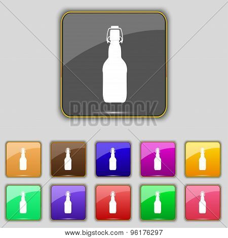 Bottle Icon Sign. Set With Eleven Colored Buttons For Your Site. Vector