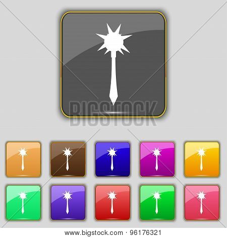 Mace Icon Sign. Set With Eleven Colored Buttons For Your Site. Vector