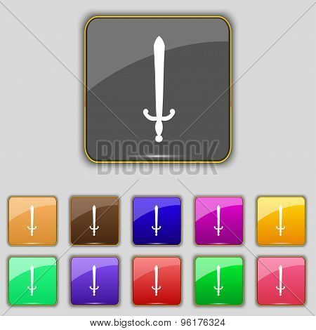 The Sword Icon Sign. Set With Eleven Colored Buttons For Your Site. Vector